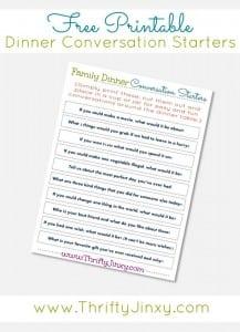 Printable Family Dinner Conversation Starters