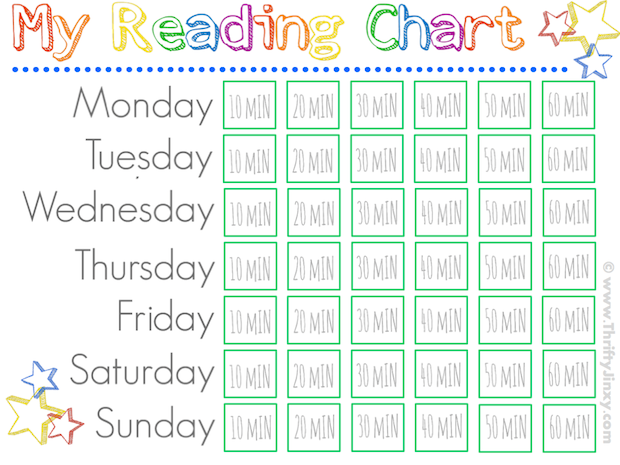 Printable Reading Chart - Jinxy Kids