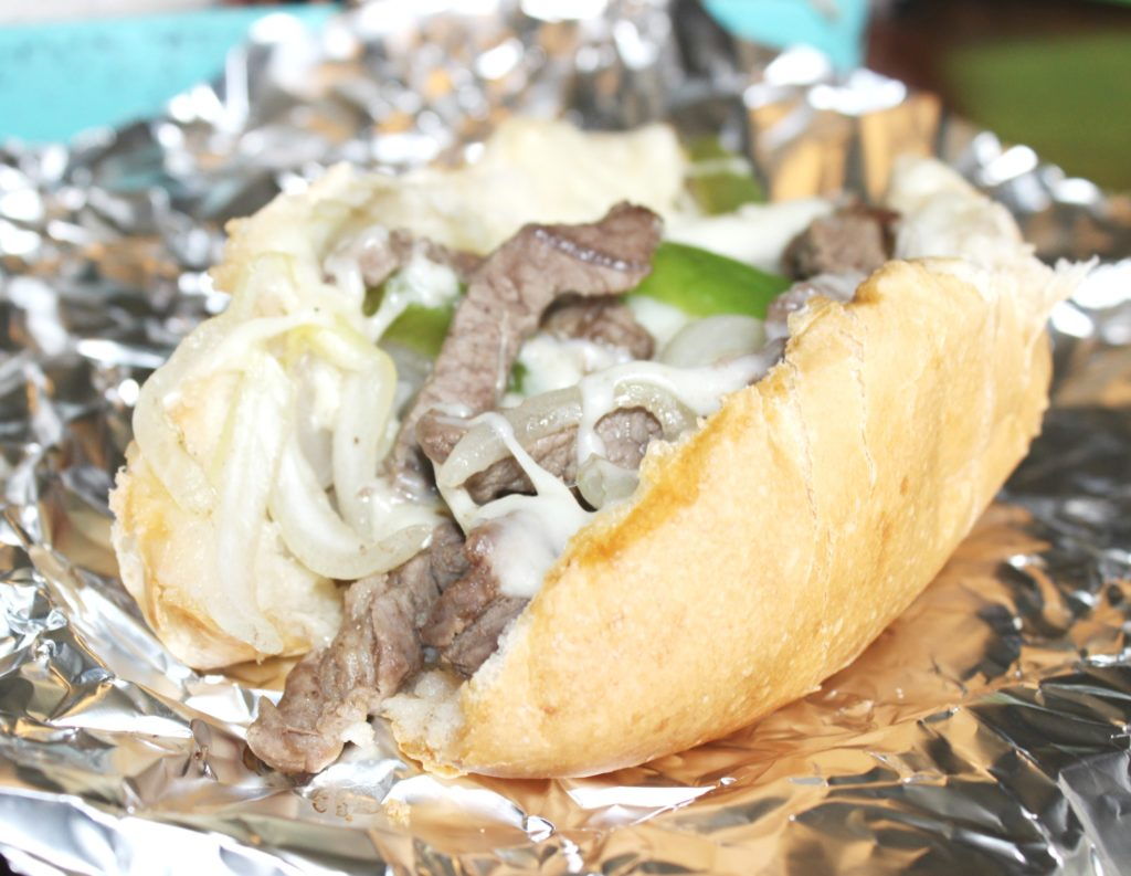 philly cheese steak sandwich in foil for camping