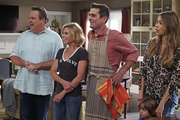 "MODERN FAMILY - ""Summer Lovin'"" - Emmy award winning and critically acclaimed series ""Modern Family"" returns for its seventh season with the premiere episode, ""Summer Lovin,"" on WEDNESDAY, SEPTEMBER 23 (9:00-9:31 p.m., ET) on the ABC Television Network. Haley's attempt to stop Andy from proposing to Beth will end up with both Haley and Andy needing to cope with their emotions and both will have their own special ways of doing so, and Phil and Claire seem to only make matters worse. Jay and Gloria look at pre-schools for Joe and get a rude awakening after they realize the competitive wait list to get in. Meanwhile, Cam tries to remain supportive of Mitch's midlife career crisis, but money is getting a little tight, so Cam comes up with a scheme to get Mitch's old job back. (ABC/Eric McCandless) ERIC STONESTREET, JULIE BOWEN, TY BURRELL, SOFIA VERGARA"