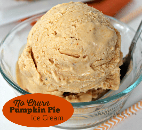No Churn Pumpkin Pie Ice Cream Recipe - Thrifty Jinxy