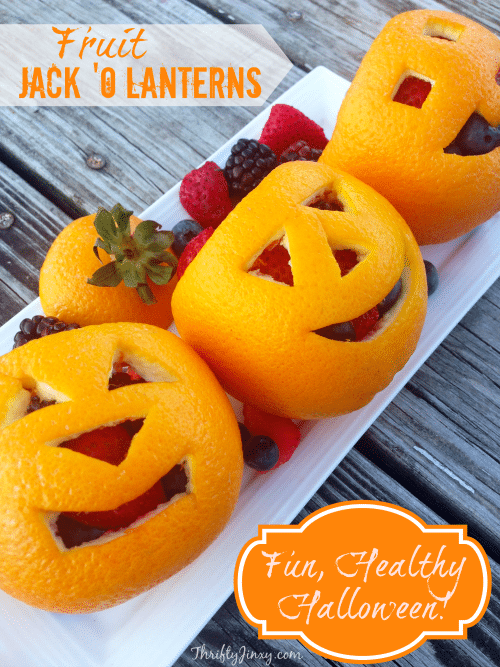 Make an Orange Fruit Jack-O-Lantern for a Fun, Healthy Halloween! Just follow our easy orange