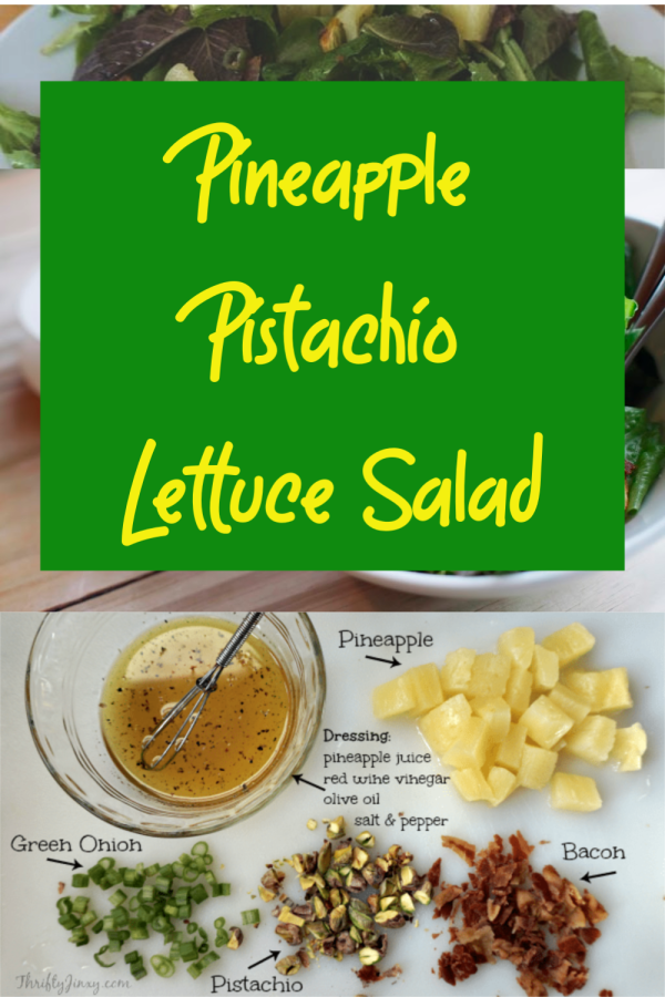 This Pineapple Pistachio Lettuce Salad Recipe is quick and easy to make and a delicious side dish for any dinner. Add cooked chicken for a complete meal!