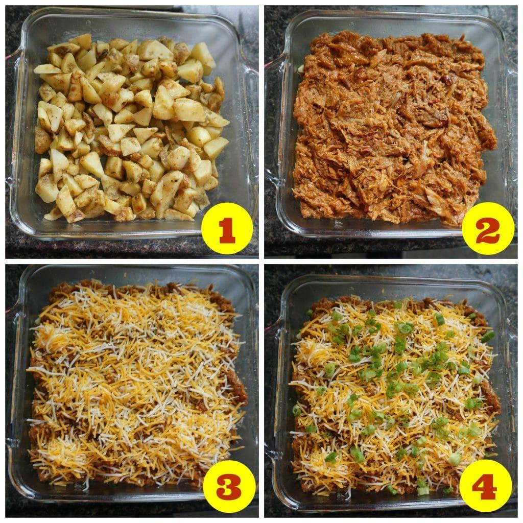 Cheesy Pulled Pork Potato Stack Recipe Assembly