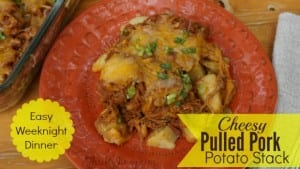 Cheesy Pulled Pork Potato Stack Recipe – We Love Simple Dinners!
