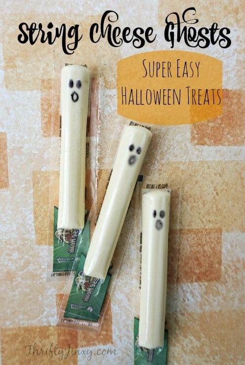 String Cheese Ghosts Easy Halloween Treat