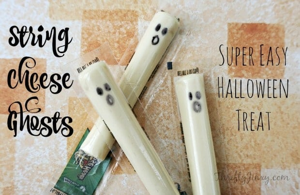 String Cheese Ghosts Halloween Treat