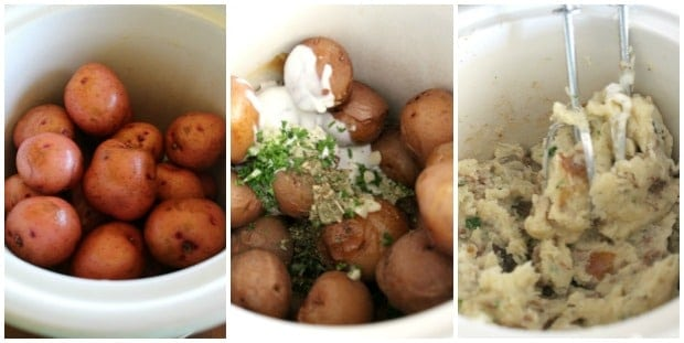 Slow Cooker Garlic Herb Mashed Potatoes Recipe Process