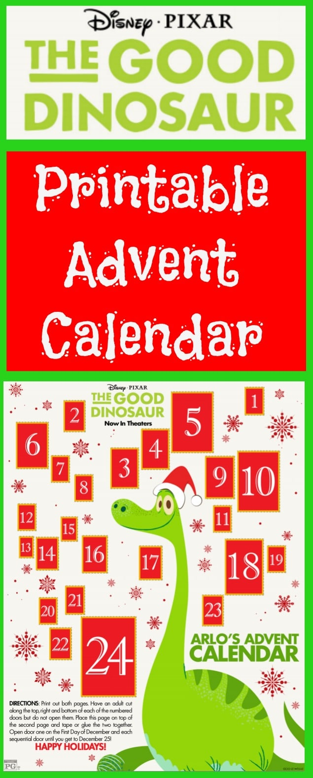 This free printable The Good Dinosaur Printable Advent Calendar counts down the days until Christmas revealing one of Forrest Woodbush's critters each day.