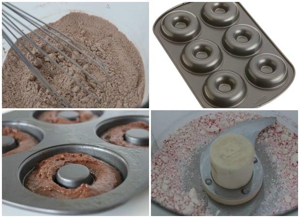 Peppermint Glazed Chocolate Donuts Recipe Process
