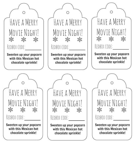 Redbox Movie Gift Tags