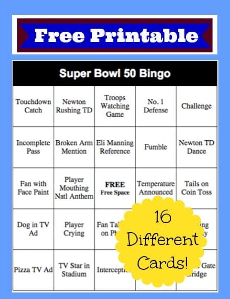 2016 Super Bowl Bingo Cards Free Printable