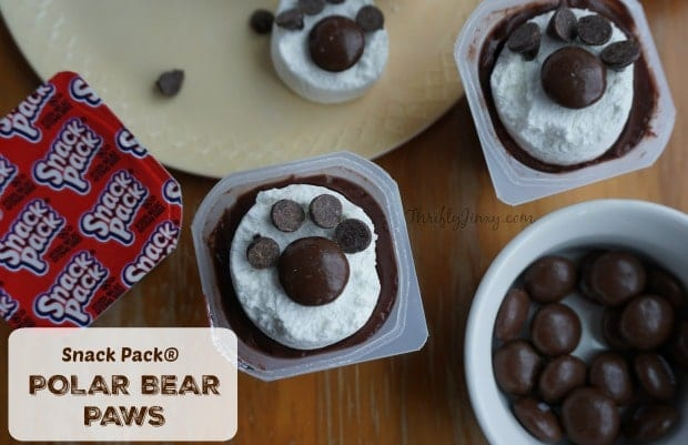 Polar Bear Paw Snack Pack Pudding Treats