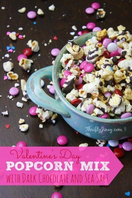Valentine's Day Popcorn Mix Recipe with Dark Chocolate and Sea Salt