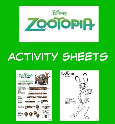 Disney Zootopia Printable Activity Sheets