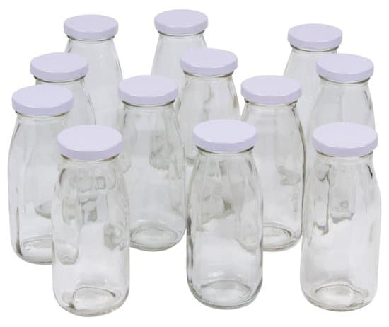 Glass Milk Bottles with Lids