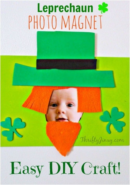 Turn your little one into a leprechaun with this easy-to-make Leprechaun Photo Magnet St. Patrick's Day Craft!