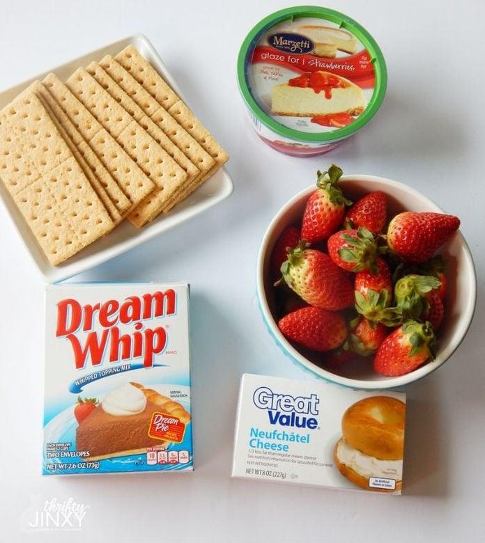 Strawberry Cheesecake Pie Ingredients - Graham Crackers, Strawberries, Cream Cheese, Dream Whip, Strawberry Glaze