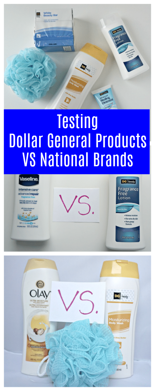 I headed to Dollar General to look for a few of the things our household uses most often - soap, body wash, lotion, etc. and picked up both the national brands and the Dollar General version of each. Which one is better?