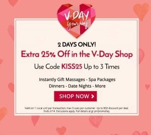 Last Minute Valentine Gifts EXTRA 20% Off from Groupon