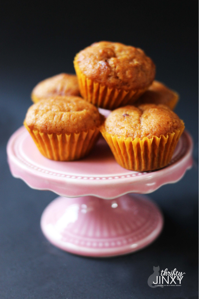 Mini Apple Muffins on Pink Pedestal Serving Tray