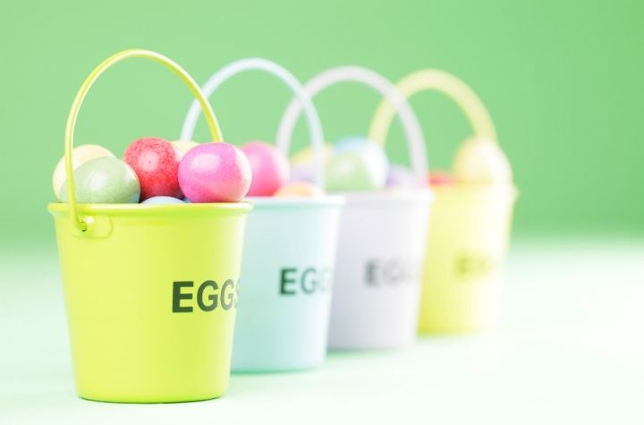 easter bucket with stickers