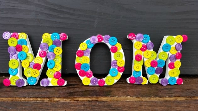 Mother's Day Button Letters Craft step 4