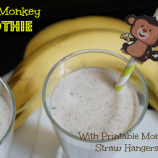 Chunky Monkey Smoothie Recipe + Printable Monkey Straw Hangers