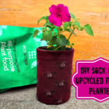 DIY Sock Cozy Upcycled Tin Can Planters + Greener Gardening Ideas