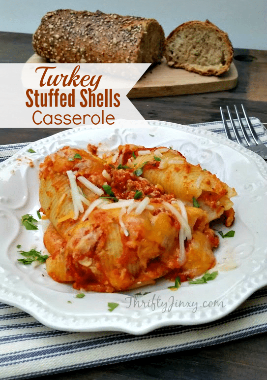 This Turkey Stuffed Shells Casserole recipe is a hearty pasta dish perfect to serve with a lovely green salad and a loaf of crusty bread.