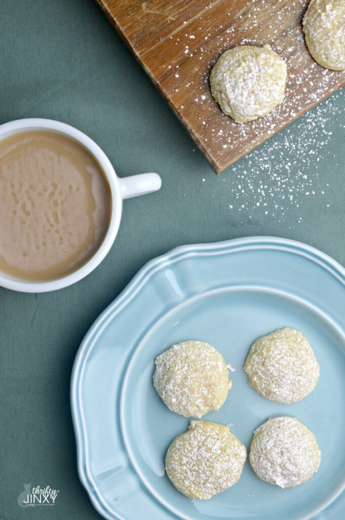 lemon ricotta cookies with cup of coffee