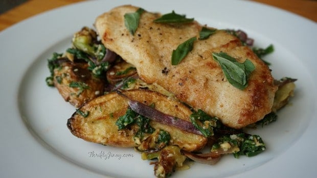 Pan-Seared Chicken with Pesto-Dressed Zucchini & Fingerling Potatoes