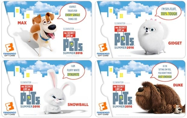 Secret Life of Pets Fandango Collectible Gift Cards