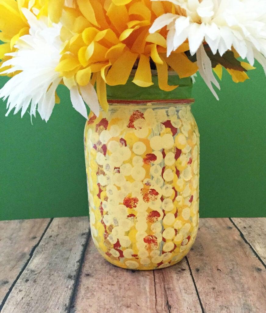 Fall Mason Jar Craft with Corn Designjpg