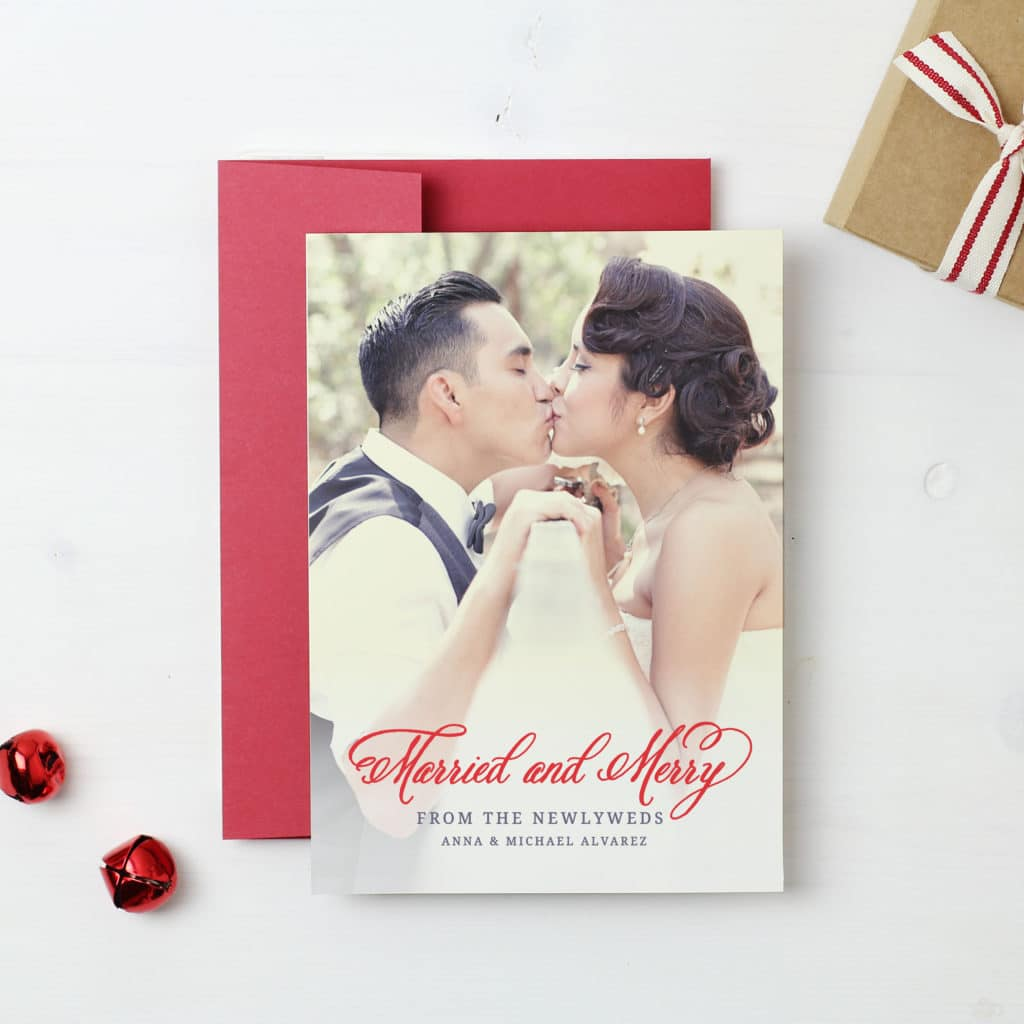 Newlywed Christmas Card - Married and Merry