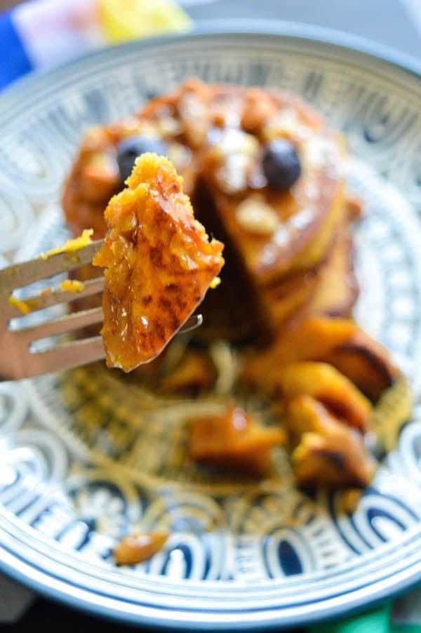 Serving Pumpkin Butterscotch Pancakes