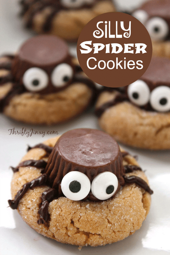 this fun and silly halloween spider cookies recipe features miniature reeses peanut butter cups for a