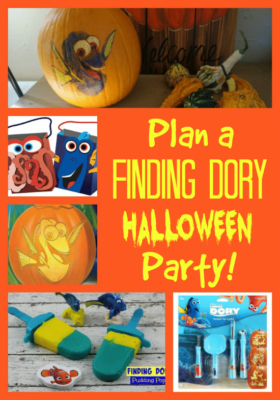 Print this fun (and free) Finding Dory Pumpkin Stencil and use these Halloween Party ideas for an awesome Finding Dory themed party!