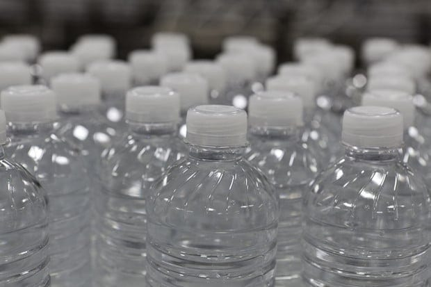 Close-up view of bottles of water