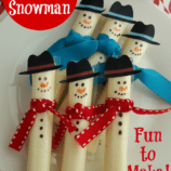 Easy Cheese Stick Snowman with Printable Hats