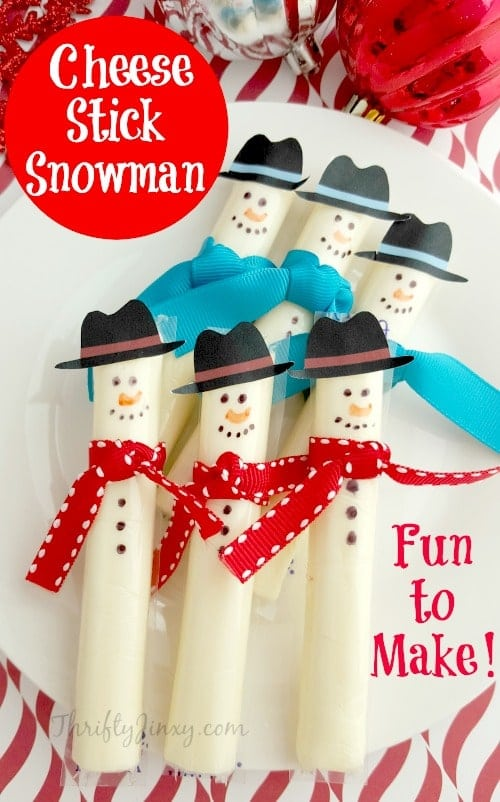 Easy Cheese Stick Snowman With Printable Hats Thrifty Jinxy