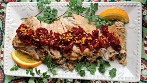 Slow Cooker Pork Loin With Cranberry Walnut Relish