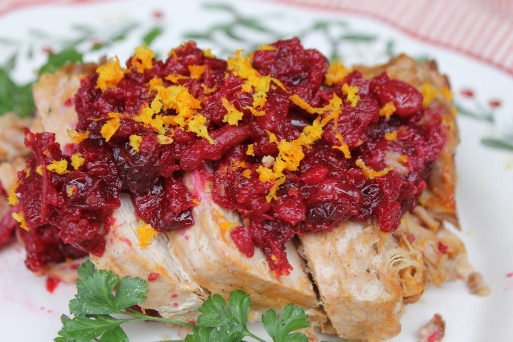 Slow Cooker Pork Loin With Cranberry Walnut Relish pork loin