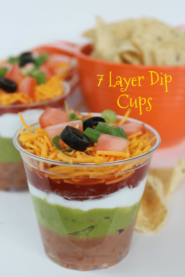 This Individual 7 Layer Dip Cups Recipe makes a perfect party recipe or a super fun lunch idea when paired with tortilla chips.