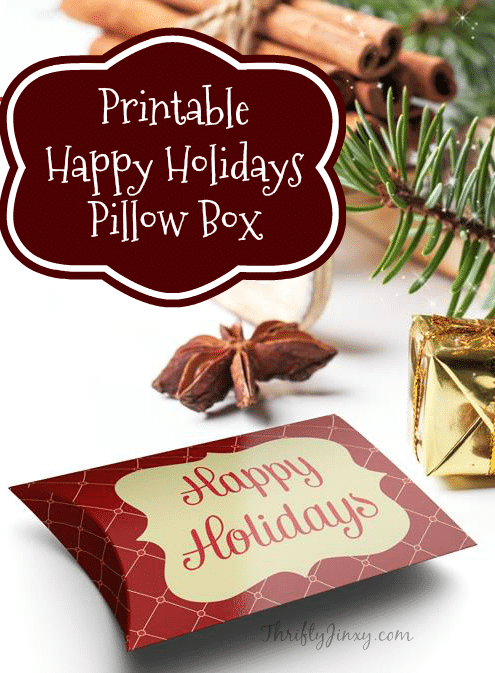 This Printable Happy Holidays Pillow Box is perfect for holding candies or small gifts. It also makes an excellent gift card holder for gift giving.