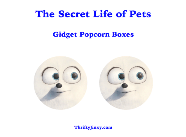 The Secret Life of Pets Gidget Popcorn Boxes Printable