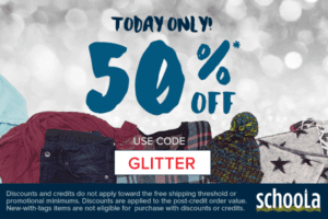 50% Off ENTIRE ORDER at Schoola – Today Only!