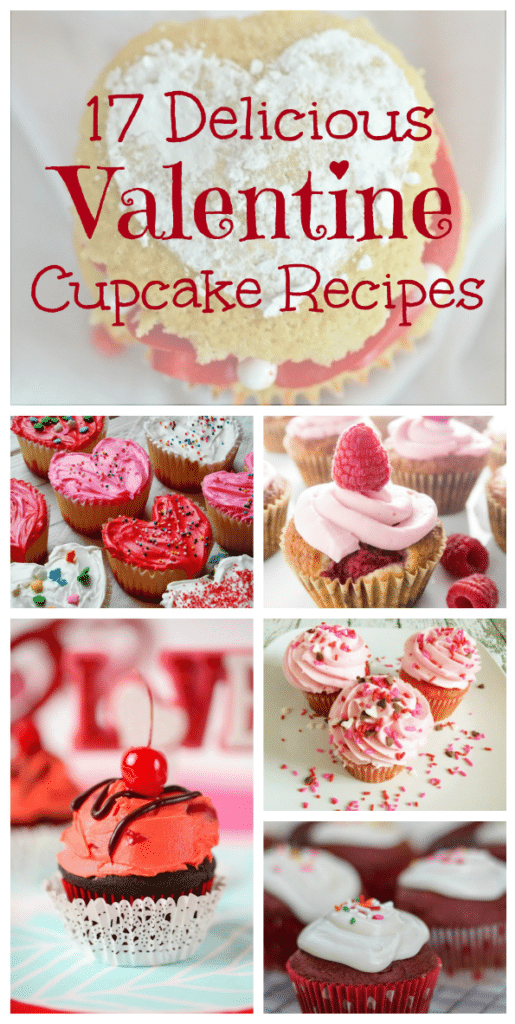 These 17 Pretty and Delicious Valentine Cupcake Recipes feature strawberry, cherry, red velvet, chocolate and MORE for Valentine's Day.