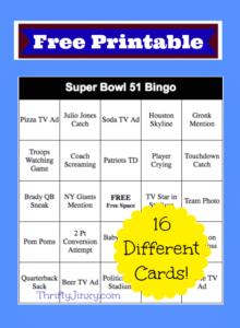 2017 Super Bowl Bingo Cards – FREE Printable!