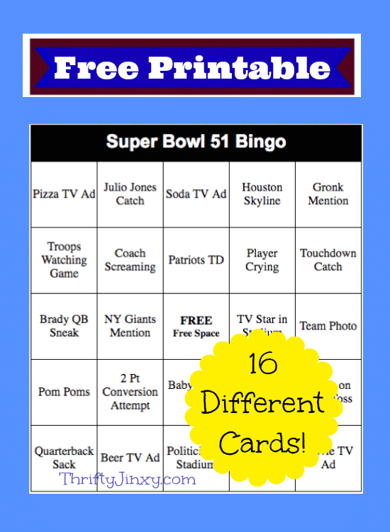 Add some fun to your Super Bowl Party or family gathering with these free printable 2017 Super Bowl Bingo Cards!